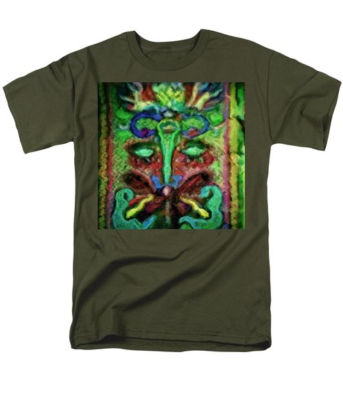 Men's T-Shirt  (Regular Fit) featuring the painting Colorful Abstract Painting Swirls And Dabs And Dots With Hidden Meaning And Secret Stories Of Birds  by MendyZ