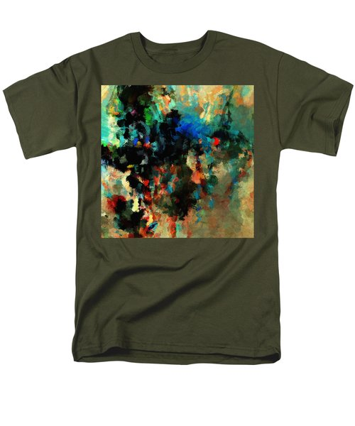Men's T-Shirt  (Regular Fit) featuring the painting Colorful Landscape / Cityscape Abstract Painting by Ayse Deniz