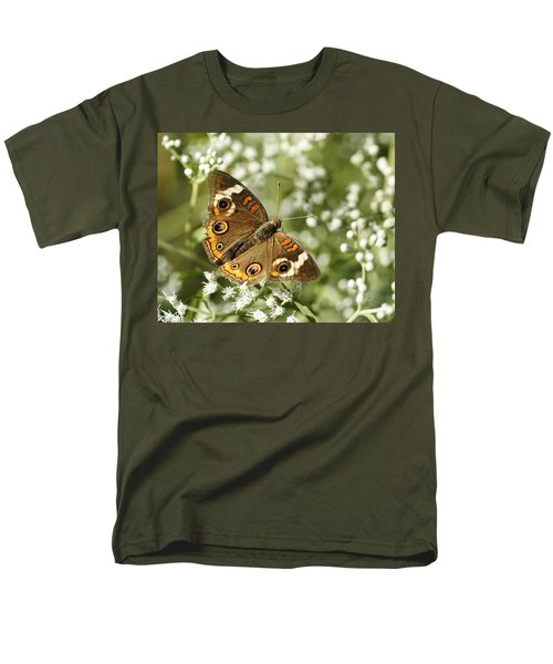 Common Buckeye Butterfly On White Thoroughwort Wildflowers Men's T-Shirt  (Regular Fit) by Kathy Clark