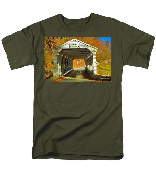 Men's T-Shirt  (Regular Fit) featuring the photograph Covered Bridge Impasto Oil by David Zanzinger