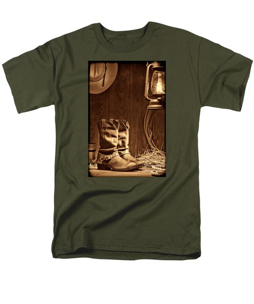 Cowboy Boots At The Ranch Men's T-Shirt  (Regular Fit) by American West Legend By Olivier Le Queinec