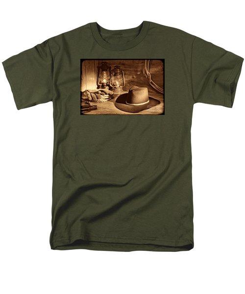 Cowboy Hat And Kerosene Lanterns Men's T-Shirt  (Regular Fit) by American West Legend By Olivier Le Queinec