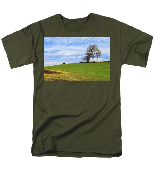 Men's T-Shirt  (Regular Fit) featuring the photograph Cows On A Spring Hill by James Eddy