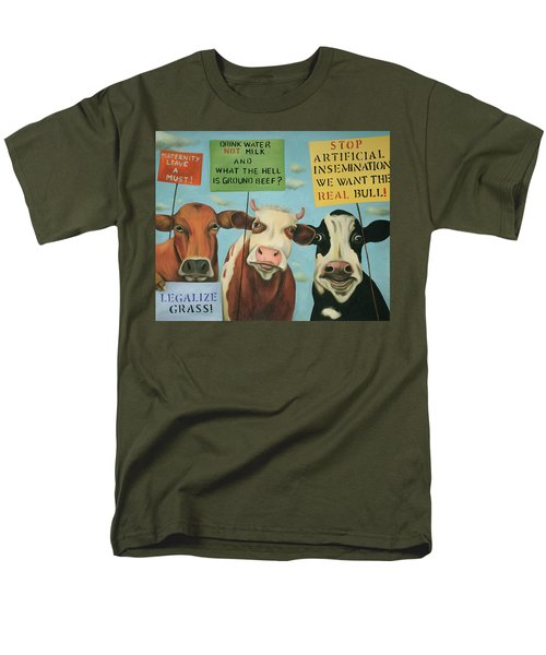 Men's T-Shirt  (Regular Fit) featuring the painting Cows On Strike by Leah Saulnier The Painting Maniac