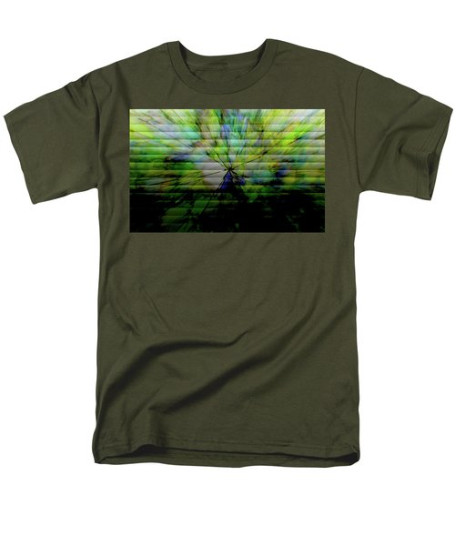 Cracked Abstract Green Men's T-Shirt  (Regular Fit) by Carol Crisafi