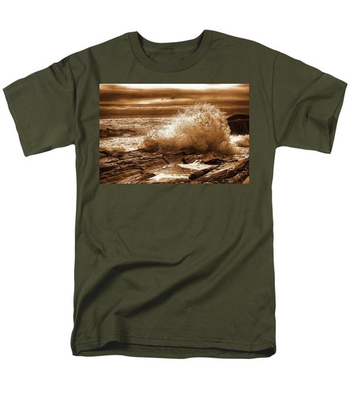 Crashing Wave Hdr Golden Glow Men's T-Shirt  (Regular Fit) by Sherman Perry