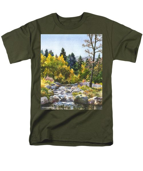 Men's T-Shirt  (Regular Fit) featuring the painting Creek At Caribou Ranch by Anne Gifford