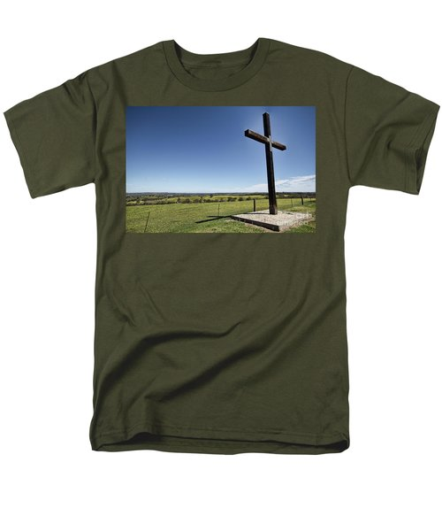 Men's T-Shirt  (Regular Fit) featuring the photograph Cross On The Hill V3 by Douglas Barnard