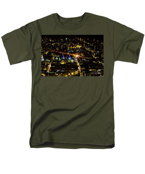 Men's T-Shirt  (Regular Fit) featuring the photograph Cuenca's Historic District At Night by Al Bourassa