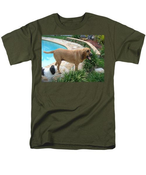 Cujo And Lucky By The Pool Men's T-Shirt  (Regular Fit) by Val Oconnor