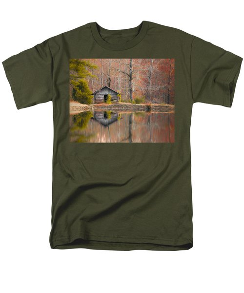 Custom Crop - Cabin By The Lake Men's T-Shirt  (Regular Fit) by Shelby  Young