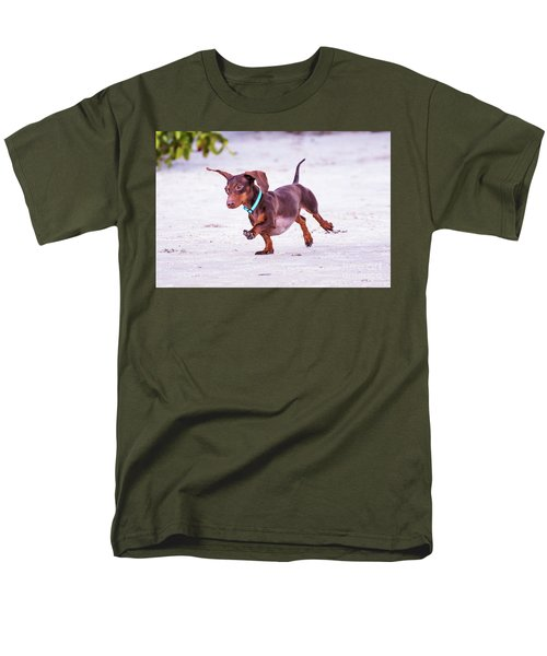 Dachshund On Beach Men's T-Shirt  (Regular Fit) by Stephanie Hayes