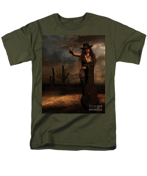 Men's T-Shirt  (Regular Fit) featuring the digital art Dark Desert Highway by Shanina Conway