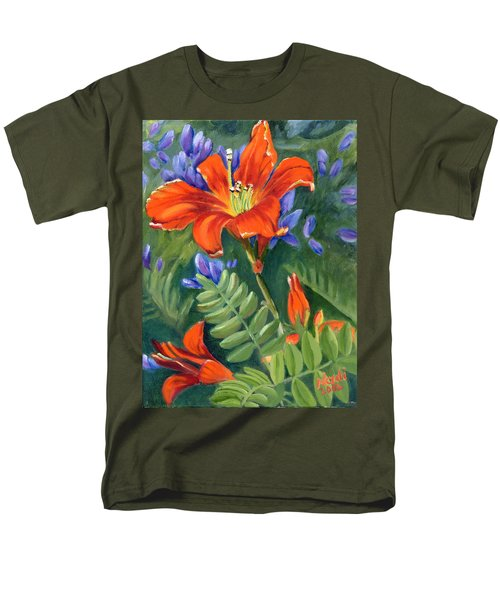 Men's T-Shirt  (Regular Fit) featuring the painting Daylilies by Renate Nadi Wesley