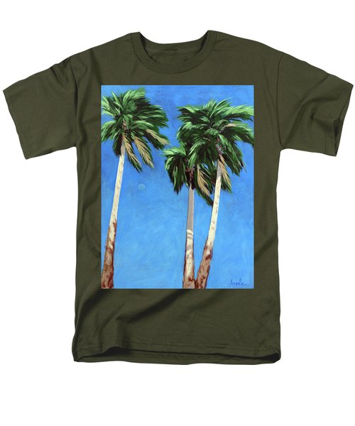Men's T-Shirt  (Regular Fit) featuring the painting Daytime Moon In Palm Springs by Linda Apple