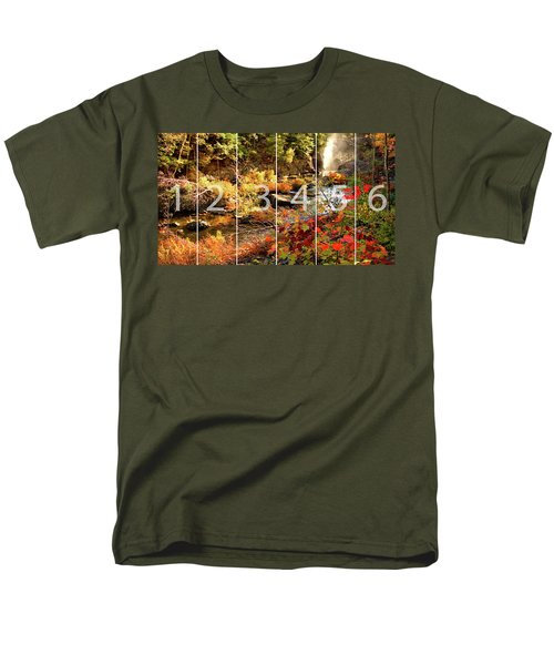 Dead River Falls Marquette Michigan Panoramic Map Men's T-Shirt  (Regular Fit) by Michael Bessler