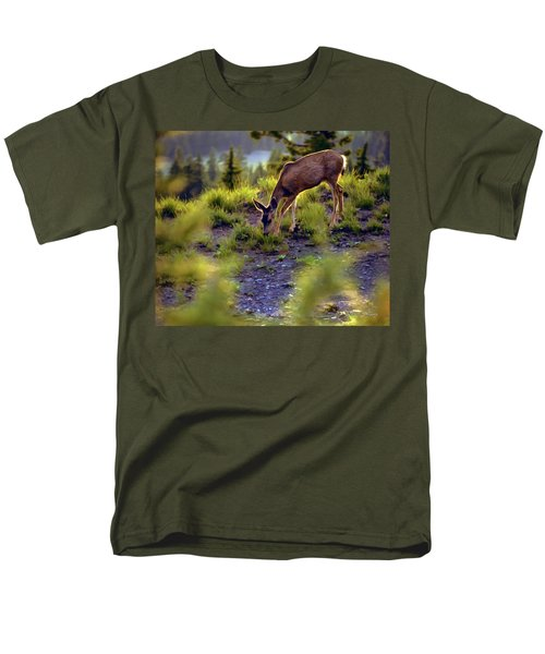 Men's T-Shirt  (Regular Fit) featuring the photograph Deer At Crater Lake, Oregon by John A Rodriguez