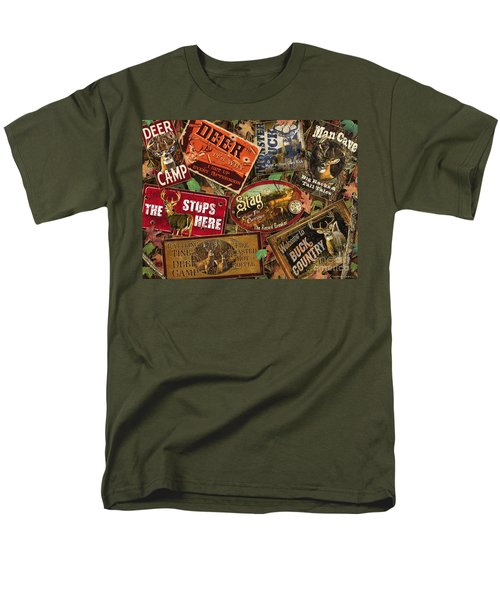 Men's T-Shirt  (Regular Fit) featuring the painting Deer Sign Collage by Bruce Miller JQ Licensing