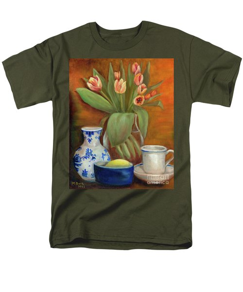 Men's T-Shirt  (Regular Fit) featuring the painting Delft Vase And Mini Tulips by Marlene Book