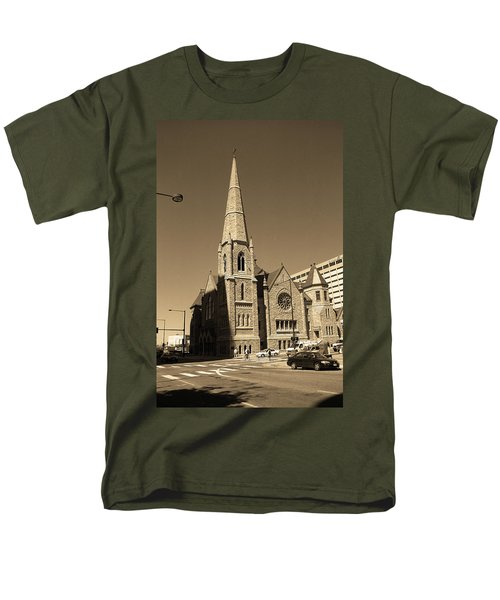 Men's T-Shirt  (Regular Fit) featuring the photograph Denver Downtown Church Sepia by Frank Romeo