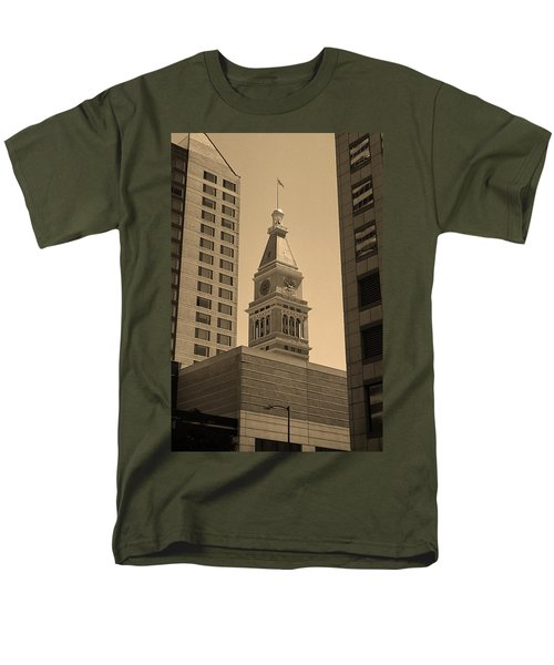 Men's T-Shirt  (Regular Fit) featuring the photograph Denver - Historic D F Clocktower 2 Sepia by Frank Romeo