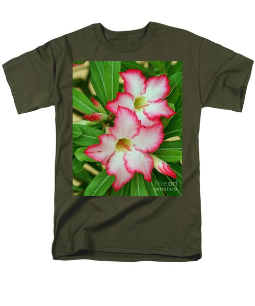 Men's T-Shirt  (Regular Fit) featuring the photograph Desert Rose With Buds And Water by Larry Nieland