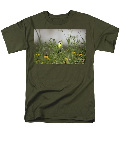 Men's T-Shirt  (Regular Fit) featuring the photograph Dickcissel With Mexican Hat by Robert Frederick