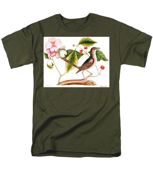 Dogwood  Cornus Florida, And Mocking Bird  Men's T-Shirt  (Regular Fit) by Mark Catesby