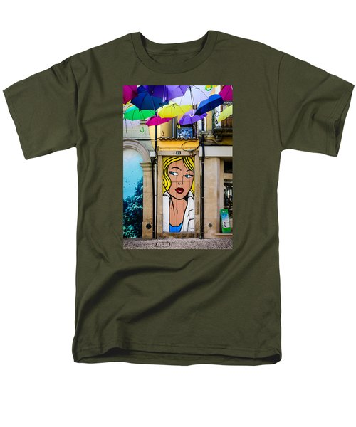 Door No 73 And The Floating Umbrellas Men's T-Shirt  (Regular Fit) by Marco Oliveira