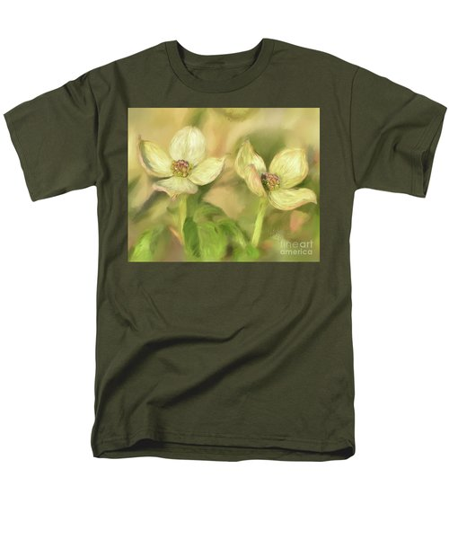 Men's T-Shirt  (Regular Fit) featuring the digital art Double Dogwood Blossoms In Evening Light by Lois Bryan