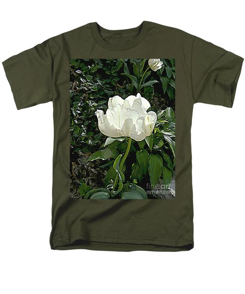 Men's T-Shirt  (Regular Fit) featuring the photograph Double Tulip In White by Nancy Kane Chapman