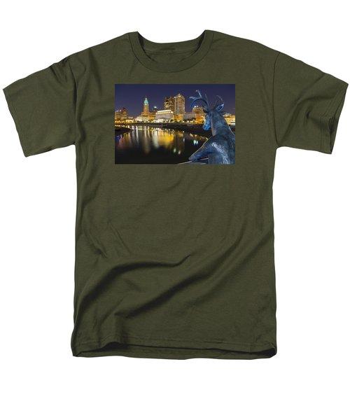 Men's T-Shirt  (Regular Fit) featuring the photograph Downtown Deer View Columbus by Alan Raasch