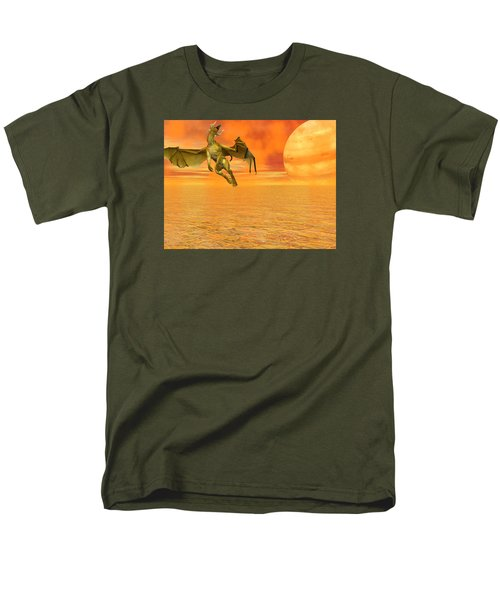 Dragon Against The Orange Sky Men's T-Shirt  (Regular Fit) by Michele Wilson