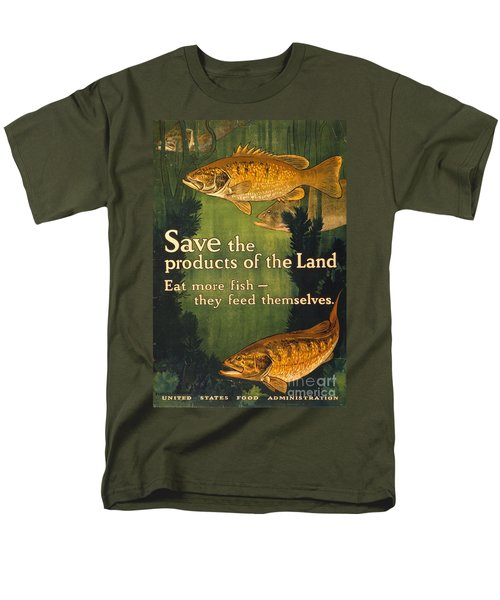 Men's T-Shirt  (Regular Fit) featuring the photograph Eat More Fish Vintage World War I Poster by John Stephens