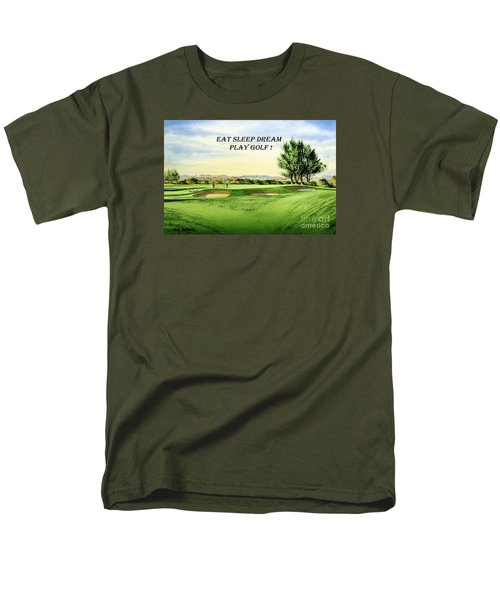 Men's T-Shirt  (Regular Fit) featuring the painting Eat Sleep Dream Play Golf - Carnoustie Golf Course by Bill Holkham