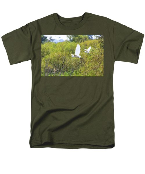 Men's T-Shirt  (Regular Fit) featuring the photograph Egrets In Flight by Jennifer Casey
