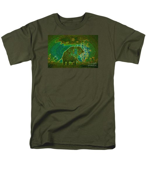 Men's T-Shirt  (Regular Fit) featuring the painting Elephant Abstract by John Stuart Webbstock