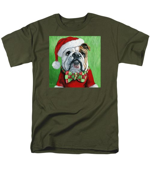 Holiday Cheer -english Bulldog Santa Dog Painting Men's T-Shirt  (Regular Fit)