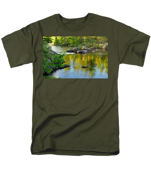 Evening Reflections At Lower Basswood Falls Men's T-Shirt  (Regular Fit) by Larry Ricker