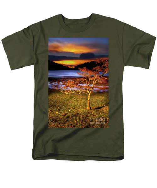 Men's T-Shirt  (Regular Fit) featuring the photograph Fall Colors At Sunrise In Otter Blue Ridge by Dan Carmichael