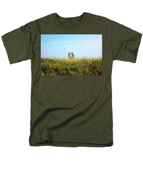 Men's T-Shirt  (Regular Fit) featuring the photograph Falmouth Beach Open 9-5 by Madeline Ellis