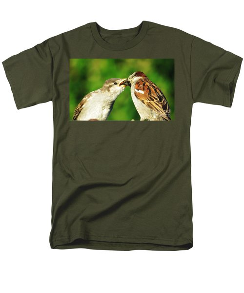 Men's T-Shirt  (Regular Fit) featuring the photograph Feeding Baby Sparrow 3 by Judy Via-Wolff
