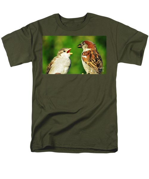 Men's T-Shirt  (Regular Fit) featuring the photograph Feeding Baby Sparrows 2 by Judy Via-Wolff