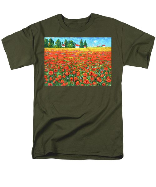 Men's T-Shirt  (Regular Fit) featuring the painting Field And Poppies by Dmitry Spiros