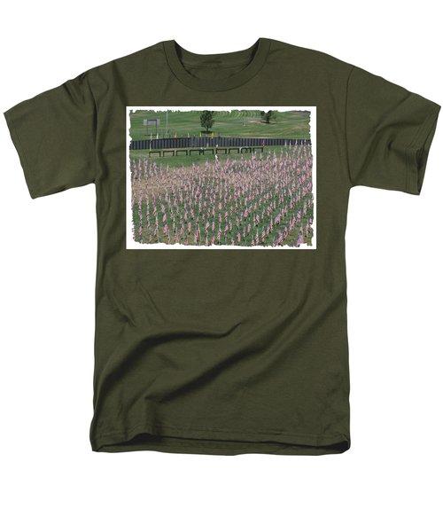 Men's T-Shirt  (Regular Fit) featuring the digital art Field Of Flags - Gotg Arial by Gary Baird