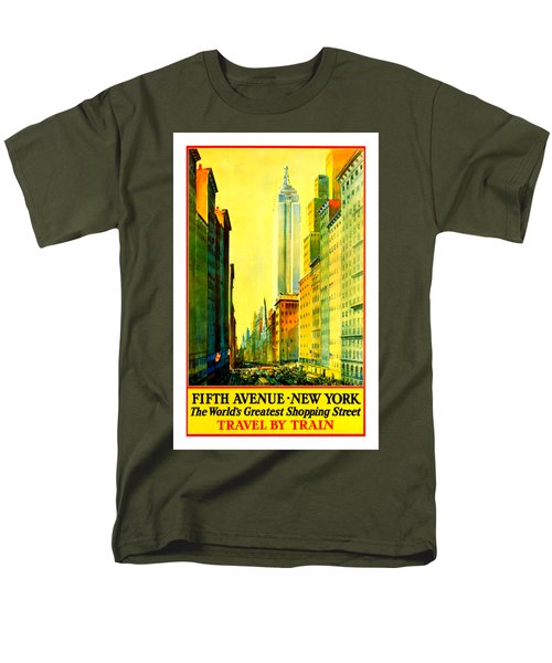 Fifth Avenue New York Travel By Train 1932 Frederick Mizen Men's T-Shirt  (Regular Fit)