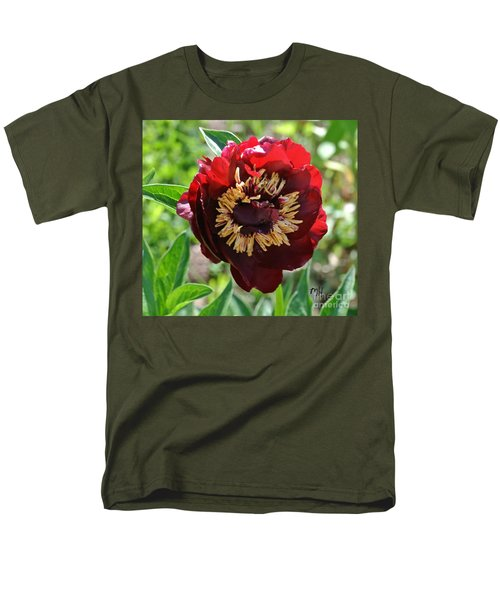 First Peony Bloom Men's T-Shirt  (Regular Fit) by Marsha Heiken