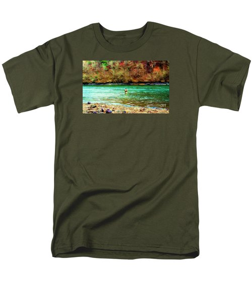 Men's T-Shirt  (Regular Fit) featuring the photograph Fisherman Hot Springs Ar In Oil by Diana Mary Sharpton