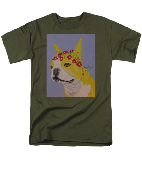 Men's T-Shirt  (Regular Fit) featuring the painting Flower Dog 5 by Hilda and Jose Garrancho