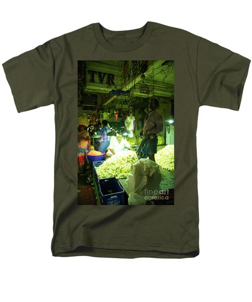 Men's T-Shirt  (Regular Fit) featuring the photograph Flower Stalls Market Chennai India by Mike Reid